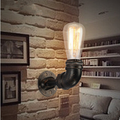 ФОТО Water Pipe Loft Style Adison Wall Lamp Fixtures Vintage Industrial ustWall Light For Cafe Hall Bedroom Study Lamparas De Pared