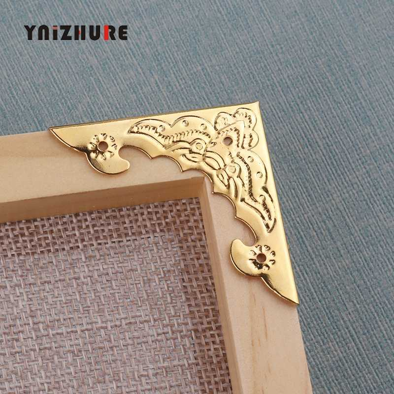 12pcs/set Antique Corner Protector Metal Storage Box Corner Protection Jewelry Wine Gift Box Wooden Case Retro Corner Protector