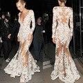 2016 Maxi Largo Del Cordón Ahueca Hacia Fuera la Opacidad Bodycon Moda V Cuello Piso-Longitud Vestidos de Verano Bata Sexy Longo Partido Delgado vestido