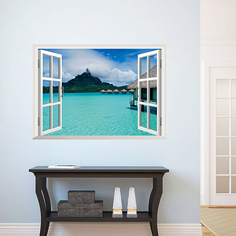 Sea Mountain Sky Landscape 3d Window Wall Stickers Room Decorations Diy Home Decals Print Mural Exotic