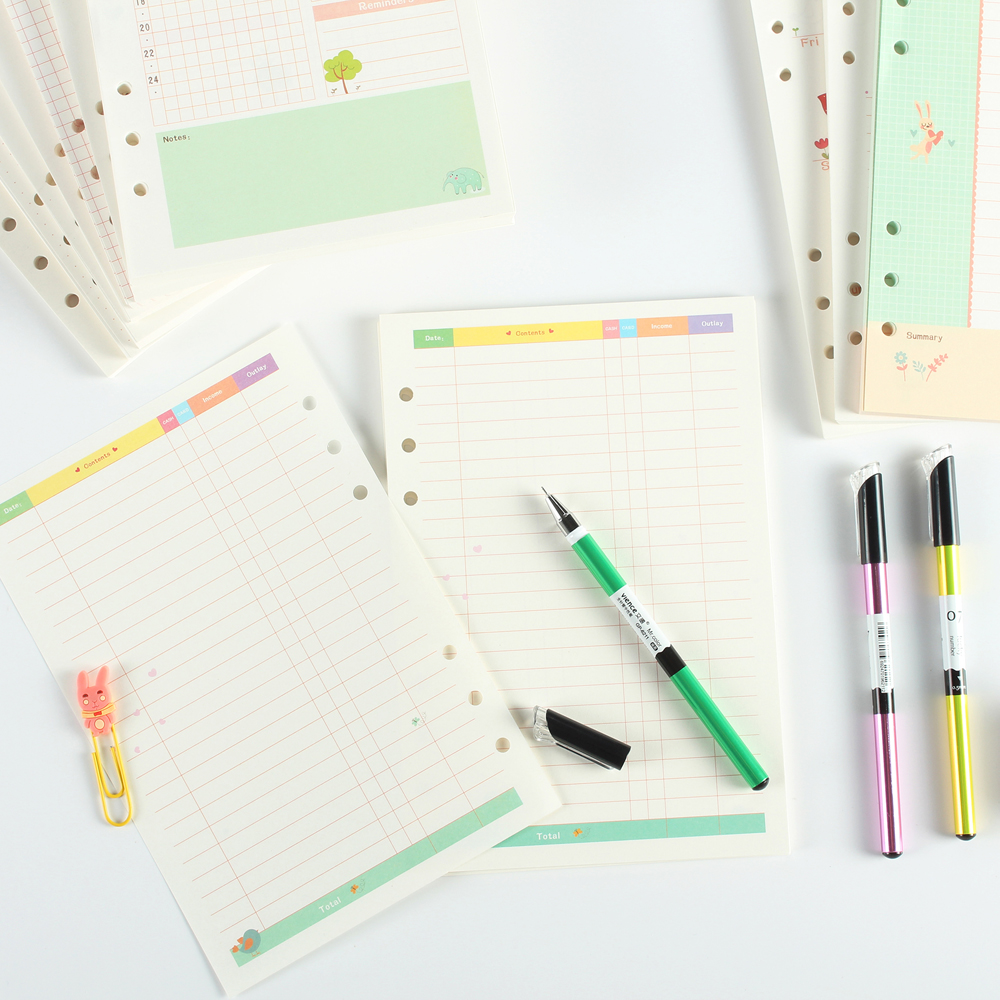 Summer Series Cartoon 6 Holes Spiral Notebook Replacement Paper Core,cute Refilling Inner Paper For Person Diary Planner A5 A6