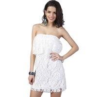 2017 Mujeres Atractivas Del Hombro de Encaje Blanco Vestido de Novia Mini Partido Sin Tirantes Vestido de Verano Corto Vestidos vestido de renda 6521