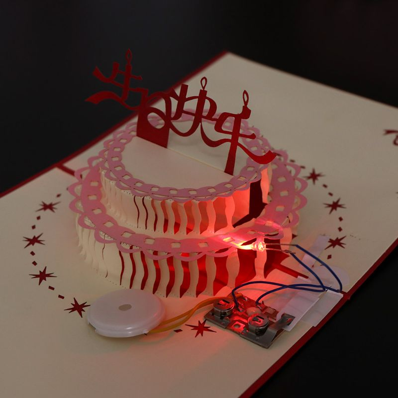3D Up Light Greeting Card Happy Birthday Music Postcard Blessing Gift CardVG
