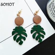 SOHOT – boucles d'oreilles de Style ethnique, fait à la main, en forme de feuille Monstera, plante tropicale en bois, bijoux, accessoires de plage d'été