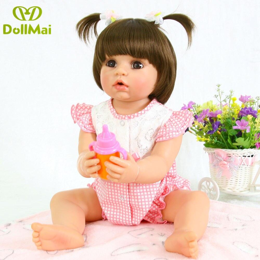 Silicone Full Body Reborn Dolls 22'' Realistic Handmade Baby Dolls Girl Fashion Kids Toy Waterproof Boneca Model Birthday Gifts