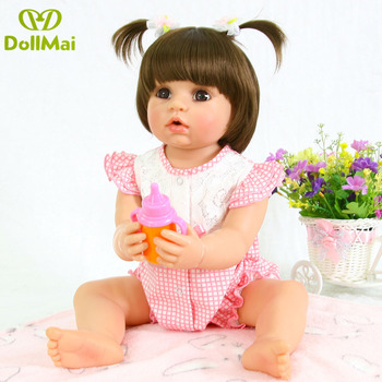 Silicone Full Body Reborn Dolls 22'' Realistic Handmade Baby Dolls girl Fashion Kids Toy Waterproof Boneca Model Birthday Gifts