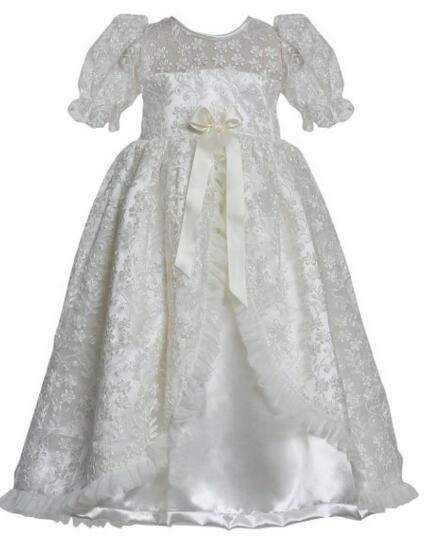 цена  Vestidos Infant Baptism Gown Baby Girl Christening Dress White/Ivory Lace Baby Boy Robe 0-24month  онлайн в 2017 году