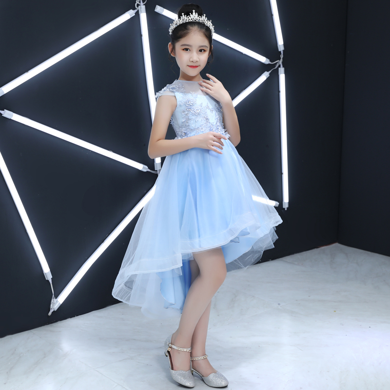 Summer New Children S Elegant Blue Color Birthday Wedding Party Tail Dress Kids Babies Model Show Pageant Tutu Prom