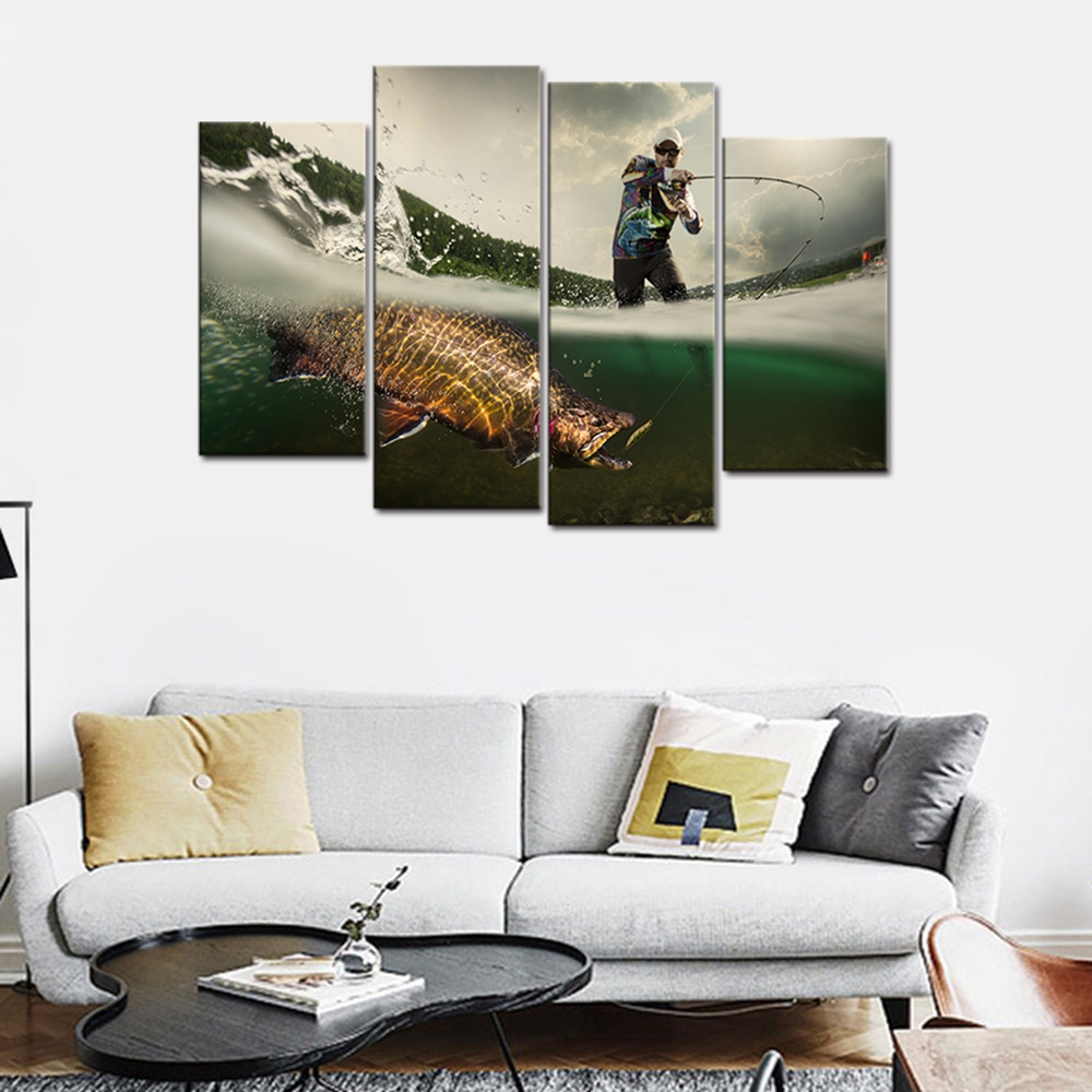 Fishing Picture Big Fish Poster Wall Art for Living Room Canvas ...