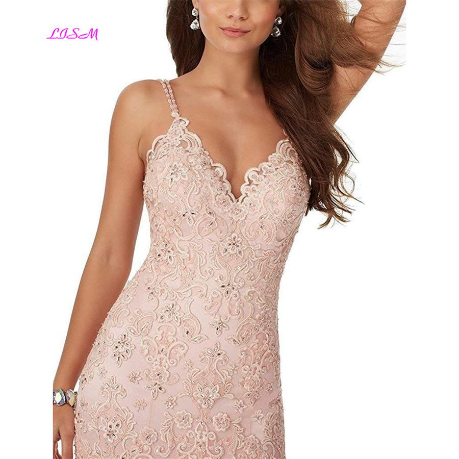 Mermaid Prom Dress 2019 Sexy Deep V-Neck Spaghetti Straps Backless Evening Dresses Lace Appliques Party Gowns Robe De Soiree