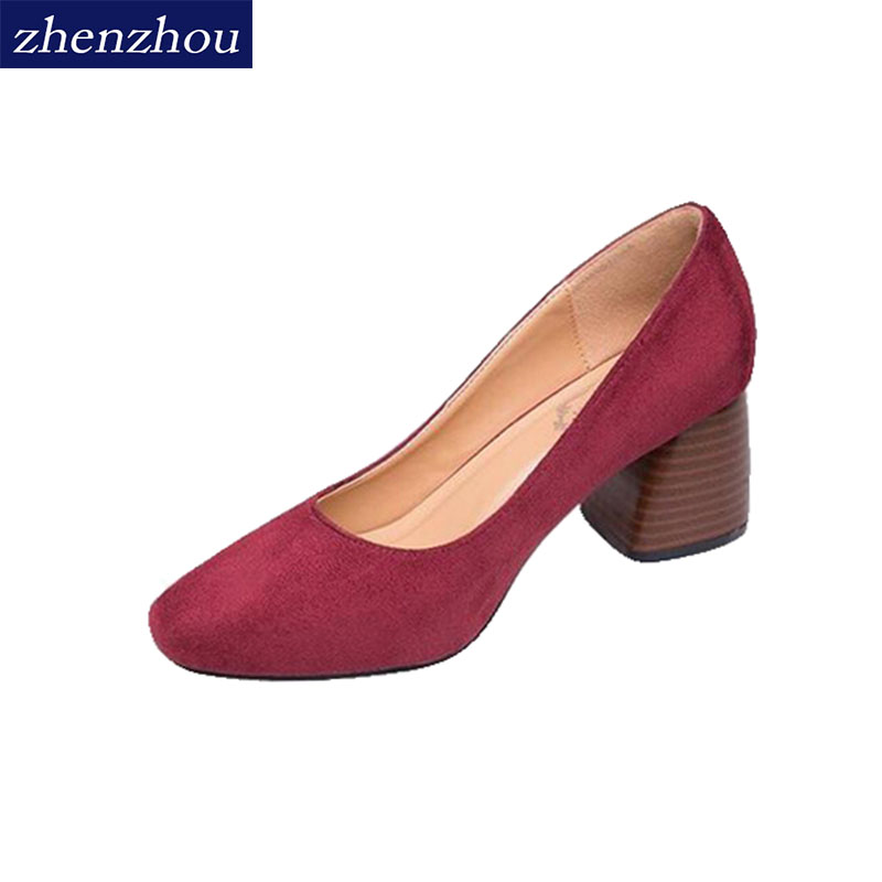 ZHENZHOU Women Pumps 2018 Coarse heel high heel female shoes round head single shoe woman and shallow mouth new spring. 2018 spring summer new women s pumps scrub sheepskin flowers rhinestone coarse high heel shallow mouth craft shoes