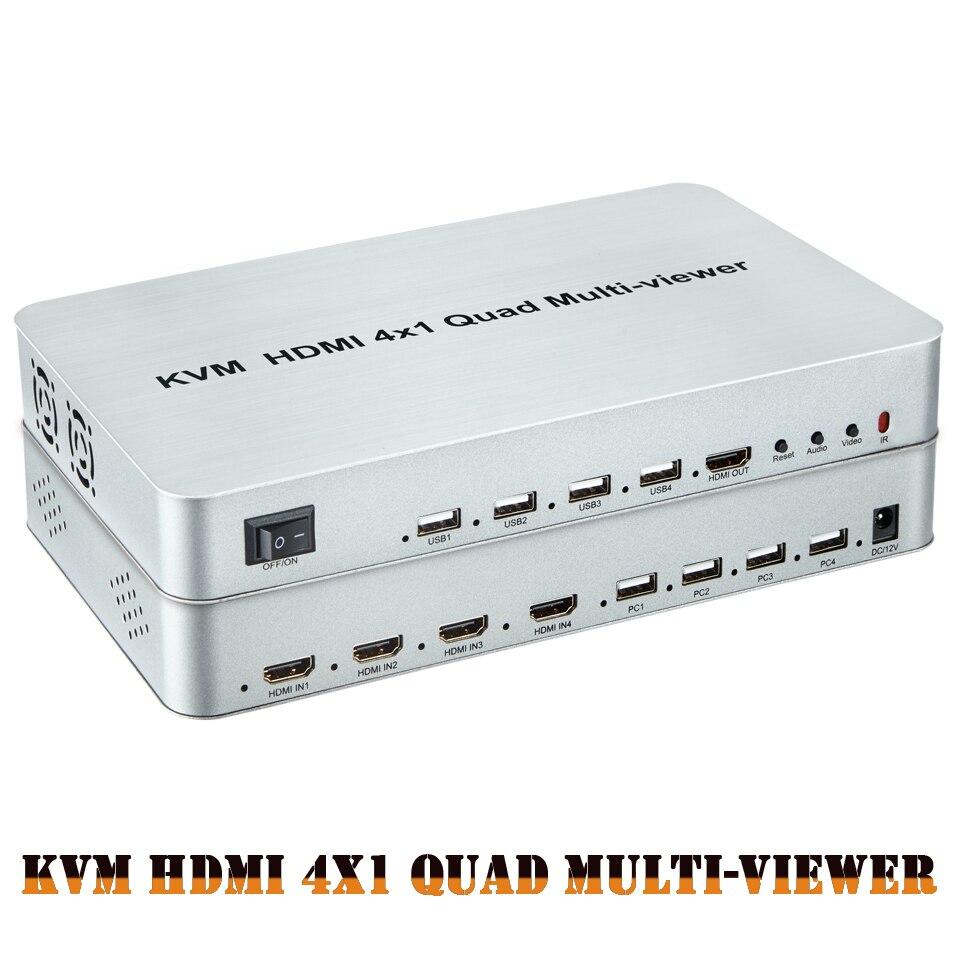 Güvenlik ve Koruma'ten CCTV Parçaları'de HDMI çoklu görüntüleyici ekran splitter ekran splitter senkron kontrol entegre makine KVM HDMI 4x1 Quad çok izleyici title=