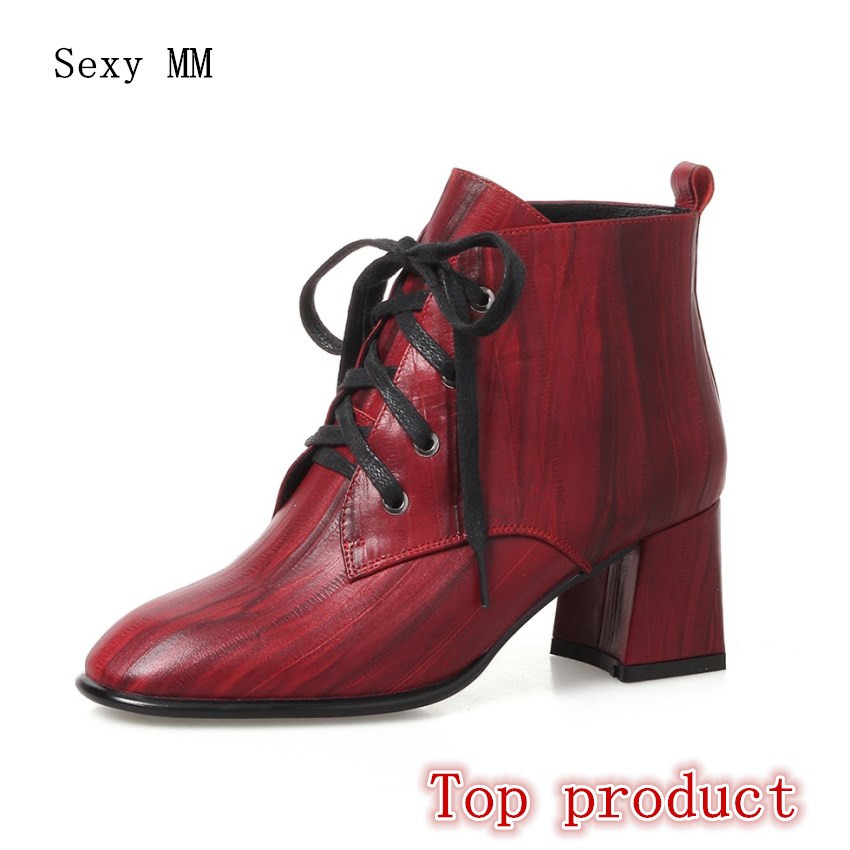 Genuine Leather Women High Heel Ankle Boots Spring Autumn Shoes Woman Short Boots High Quality Plus Size 33 - 40 41 42 43 high quality genuine leather women shoes spring and autumn high heels women boots hollow out lace ladies fashion boots