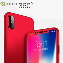 RHOADA Luxury 360 Degree Full Coverage Plastic Coque Case For iPhone X 5s SE 6 6S 7 Plus iphone 8 Plus Cover Case+Tempered Glass(China)