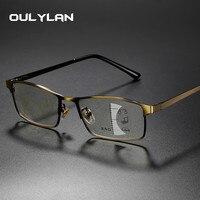 Oulylan прогрессивные многофокусные очки для чтения мужские фотохромные линзы близкие дальний прицел сплав оправа очки диоптрий 1,0 3,0