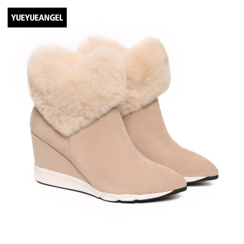 Winter New Real Leather Cow Suede Womens Snow Boots Sweet Fur Trim Girls Ankle Boots High Heel Pointed Toe Wedges Female Shoes
