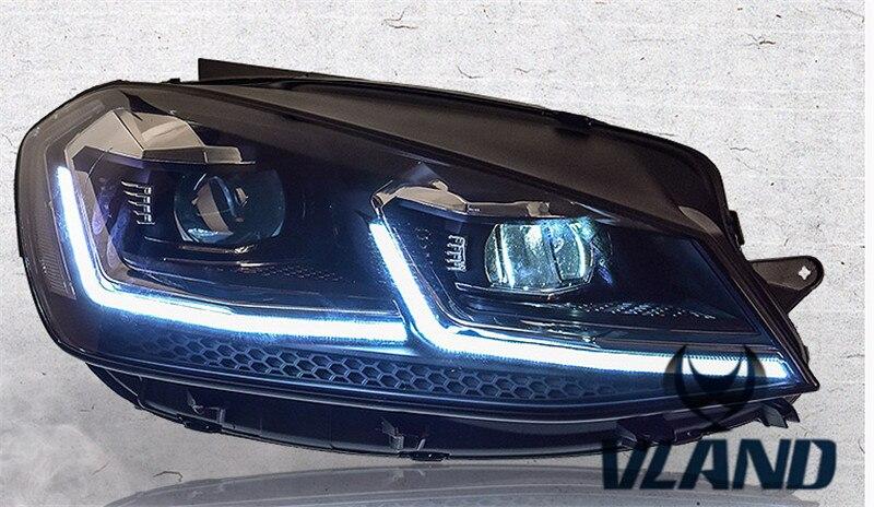 VLAND manufacturer for Car head lamp for Golf 7 LED Headlight 2013 2014-2016 Head light with xenon HID projector lens and DRL vland 2pcs car light led headlight for jetta headlight 2011 2012 2013 2014 demon eyes head lamp