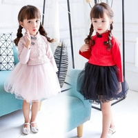 2017 Girl Long Sleeves Autumn New Retail Chinese Style Retro Sweet Lace Princess Party Dress Children