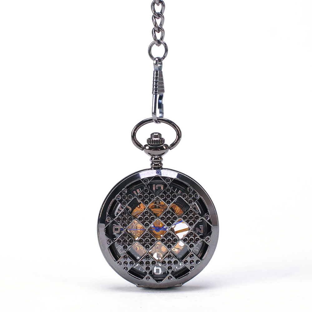 Black Diamond Round Men Mechanical Pocket Watch With