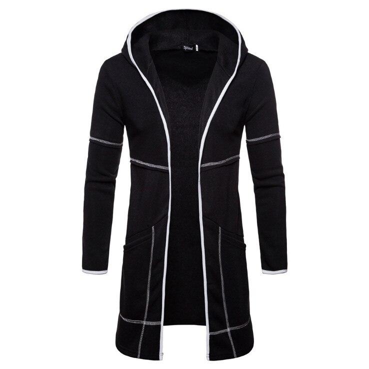 Europe and America Cardigan Hoodies Men New Fashion Black Hooded Sweatshirts Autumn Design Long Hoodies Coat Europe/US Size