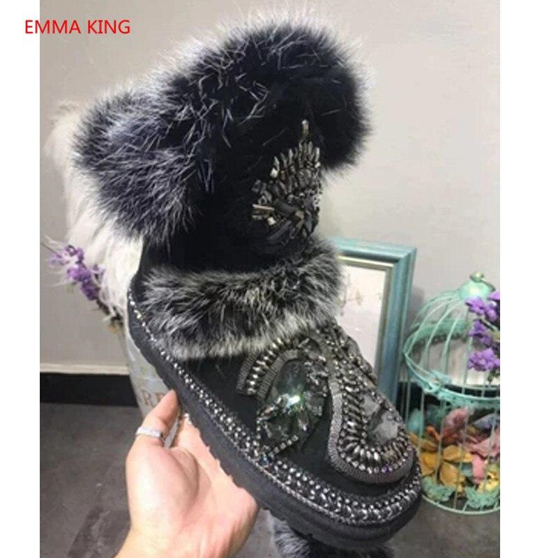 bf2f30e1e3b Gamuza Informales Negras Zapatos As Cristal Piel Para In Shown Invierno  Nieve Algodón Botas Mujer Picture Cálida ...