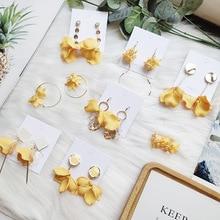 Korean Handmade Anti-allergy Yellow Plumeria Chips 2019 Woman Hanging Dangle Drop Earrings Fashion Jewelry Holiday-JQD5 korean handmade pink irregular geometric anti allergy 2019 woman dangle drop earrings fashion jewelry holiday jqd5