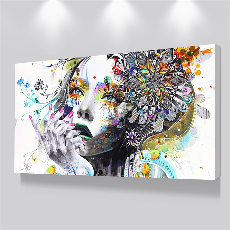 Beautiful Flower Girl Painting Canvas Wall Art Posters Print Pictures For Bedroom Home Decoration No Frame Discount Dropshiping