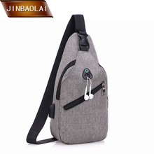 купить JINBAOLAI New Men Chest Bag Casual Shoulder Crossbody Bag USB Charging Design Chest Bag Waterproof Oxford Cloth Travel Back Bags по цене 578.37 рублей