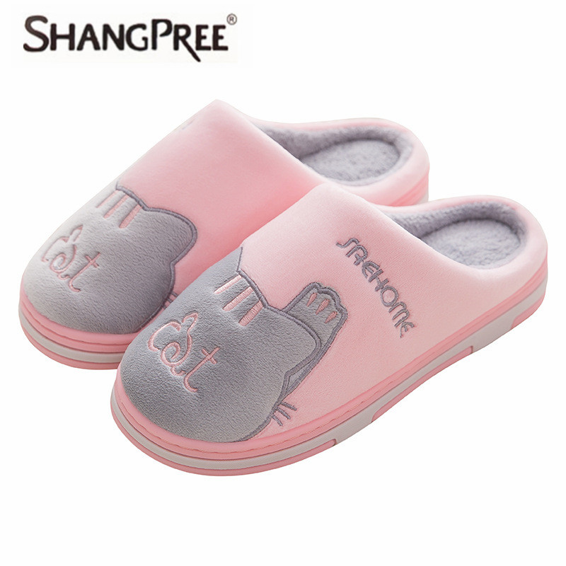 SHANGPREE New Cartoon Women cotton Slippers Winter Flat Sweet Home Slippers Woman Indoor Shoes Warm Soft Slip On Female Slipper millffy 2018 new summer sweet ladies shoes pink girl home slippers cotton indoor slip on knot stripe slippers