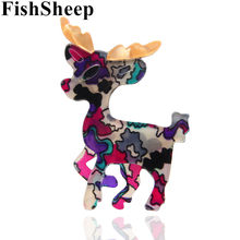FishSheep New Colorful Deer Spille E Spilli Carino Animale Acrilico Renna Spilla Per Le Donne Abbigliamento Accessori Regali Di Natale(China)