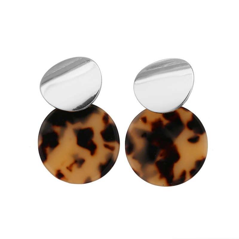 Vintage Colorful ZA Leopard Print Dangle Earrings For Women Fashion Round Drop Earring Female Wedding Party Jewelry