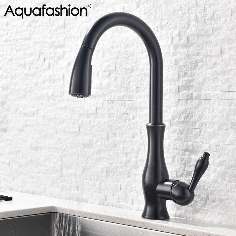 Robinets de cuisine noir robinet chaud et froid pour évier de cuisine 360 degrés bec pivotant tirer robinet de cuisine