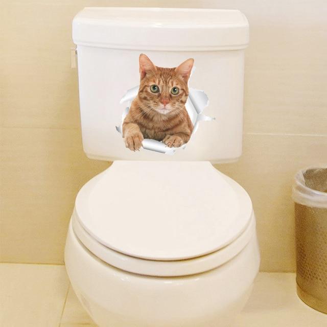 Funny 3d Kitten Broken Hole Sticker For Toilet-Free Shipping
