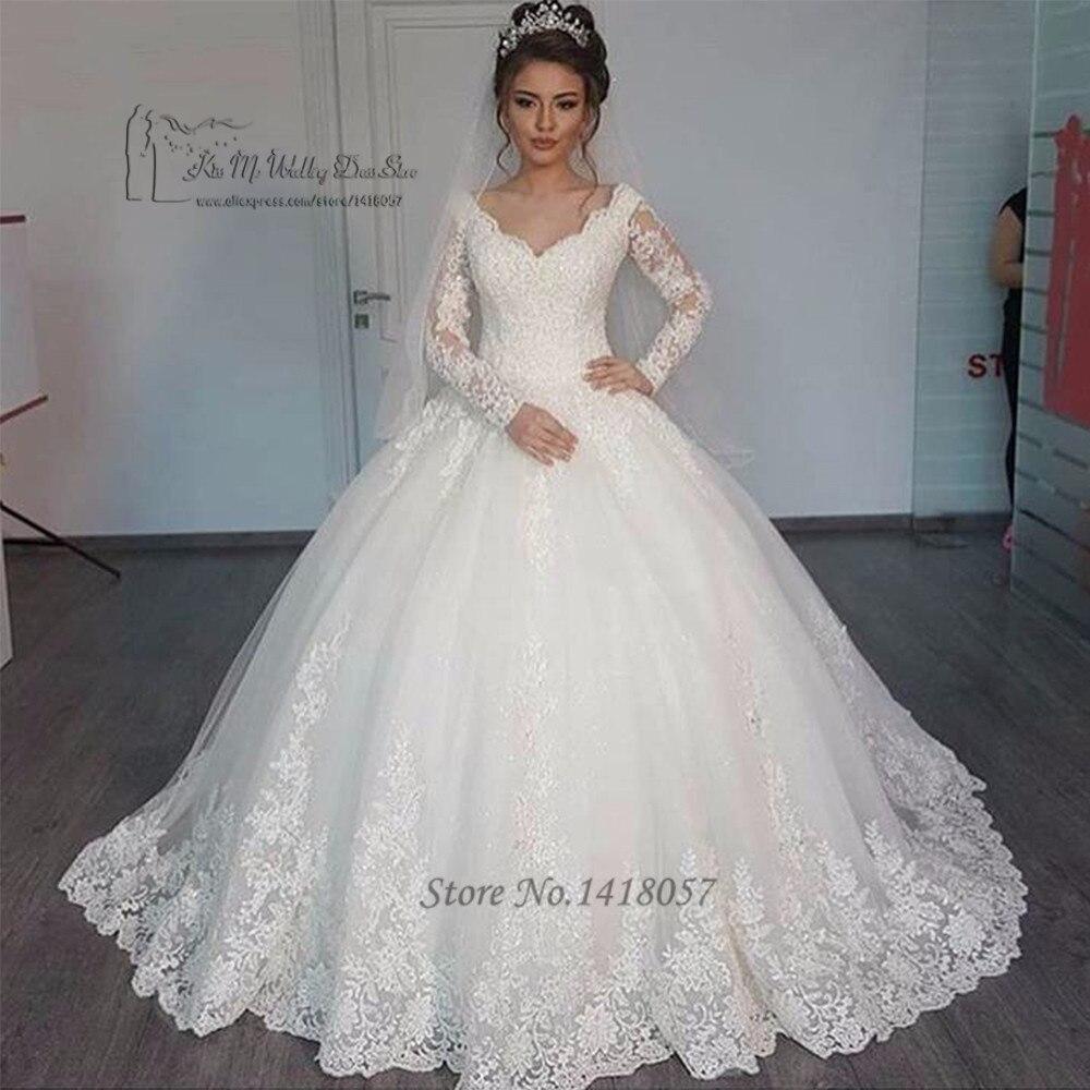 Louisvuigon Vintage Long Sleeve Wedding Dress Lace Puffy Wedding Gowns Floor Length Bridal Dresses 2017 Boho Vestido de Noiva