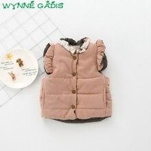 WYNNE GADIS/осенний однотонный хлопковый жилет принцессы без рукавов с бантом для маленьких девочек; детская верхняя одежда; casaco roupas de bebe