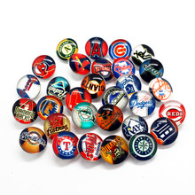 2017 New 30pcs/lot MLB Baseball Team Fashion Glass Snaps Button 18mm Sanps Charms Fit Snap Bracelets Necklace Jewelry