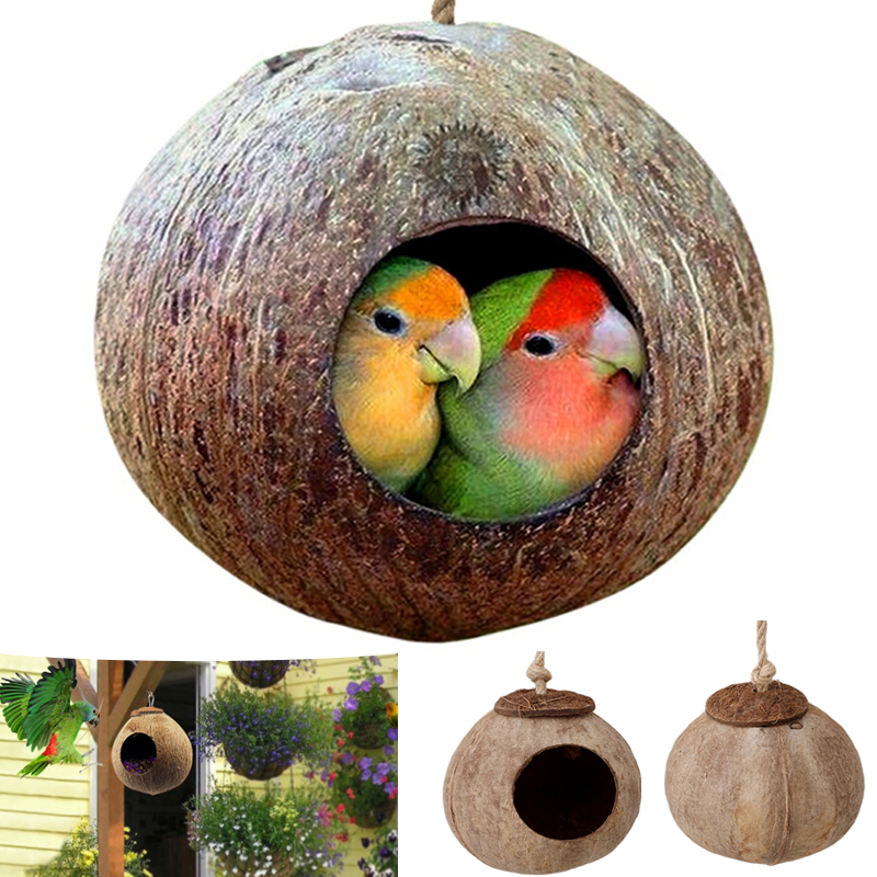 Natural Coconut Shell Bird Cages Parrot House Nesting House Cage With Hanging Lanyard For Small Pet Parakeets Finches Sparrows