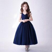 Elegant Flower Girls Dress Kids Suspender Navy Blue Long Maxi Tulle Party Wedding Dress Girls Graduation Dress Vestido