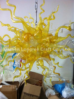 Discount Lights and Lightings Chandelier Modern LED Light Source Style Golden Yellow Hand Blown Murano Glass Chandelier