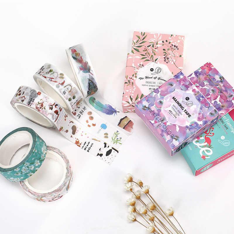 15mm X 7m linda flor Lotkawaii animales decorativos Washi Tape DIY Scrapbooking Tape cinta adhesiva material de oficina escolar