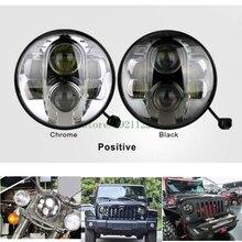 """Jeep Wrangler için 7 inç Yuvarlak Kafa lambası 7 """"Yuvarlak H6014/H6024/H6017 6000 K 80 W araba offroad LED Tru Projektör 7 """"Far Lambası"""