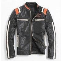 Винтаж Черный для мужчин кожа куртка мотоциклиста череп вышивка плюс размеры 3XL из натуральной воловьей кожи модные короткие байкерские па