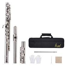 Западный концертный флейта Посеребренная 16 отверстий C Ключ Мельхиор музыкальный инструмент с чистящей тканью палочка перчатки отвертка