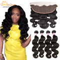 Ear To Ear Lace Frontal Closure With Bundles Peruvian Body Wave With Closure Human Hair Lace Frontals With Baby Hair