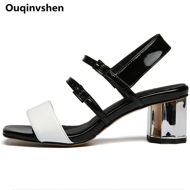 Ouqinvshen Buckle Strap Woman Sandals 2018 Summer White Casual Peep Toe Pumps Women Shoes Thick Heels Fashion High Heels 5.5CM 2016 summer peep toe thin thick high heels pumps with platform rhinestones buckle sandals women pu pink white blue sexy shoes