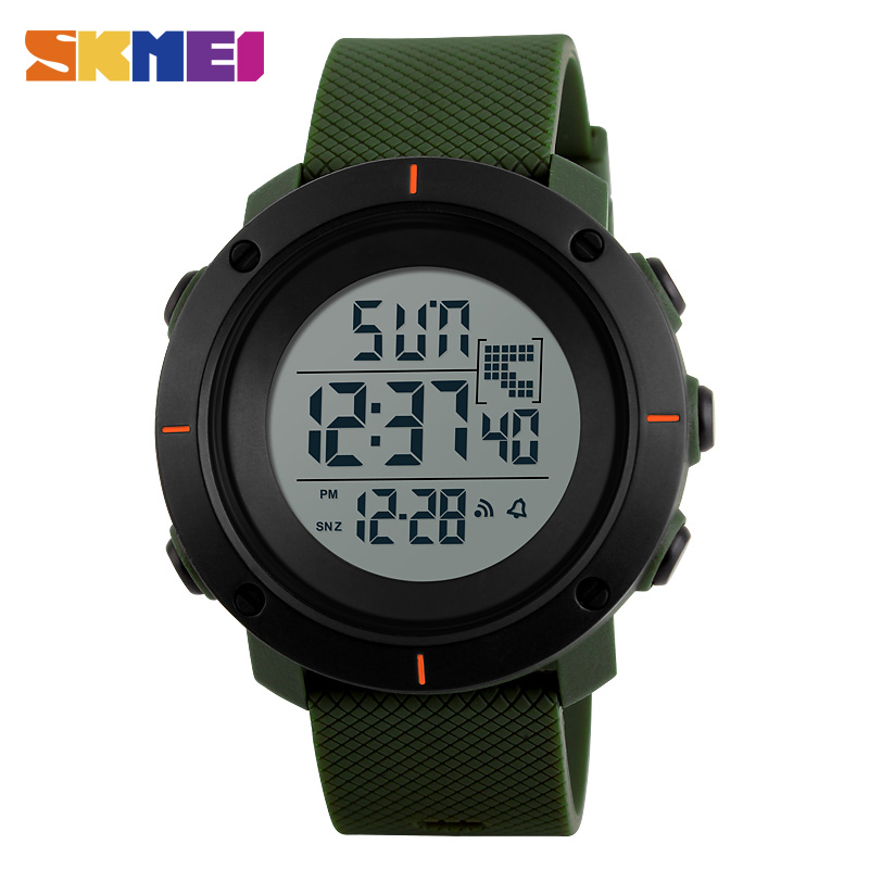 SKMEI Men Big Dial Sports Watches Multifunction Chronograph 50M Water Resistant Alarm Back Light Date Digital