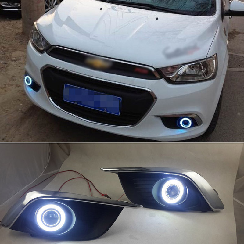 Ownsun COB Angel Eye Rings Projector Lens with 3000K Halogen Lamp Source Black Fog Lights Bumper Cover For Chevrolet Aveo 2014 ownsun cob angel eye rings projector lens with 3000k halogen lamp source black fog lights bumper cover for skoda fabia 2008 2011