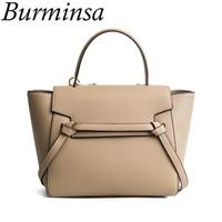 Burminsa Belt Knot Tote Bags Women Smiley Messenger Bags Designer Handbags High Quality PU Leather Female New Shoulder Bags 2019