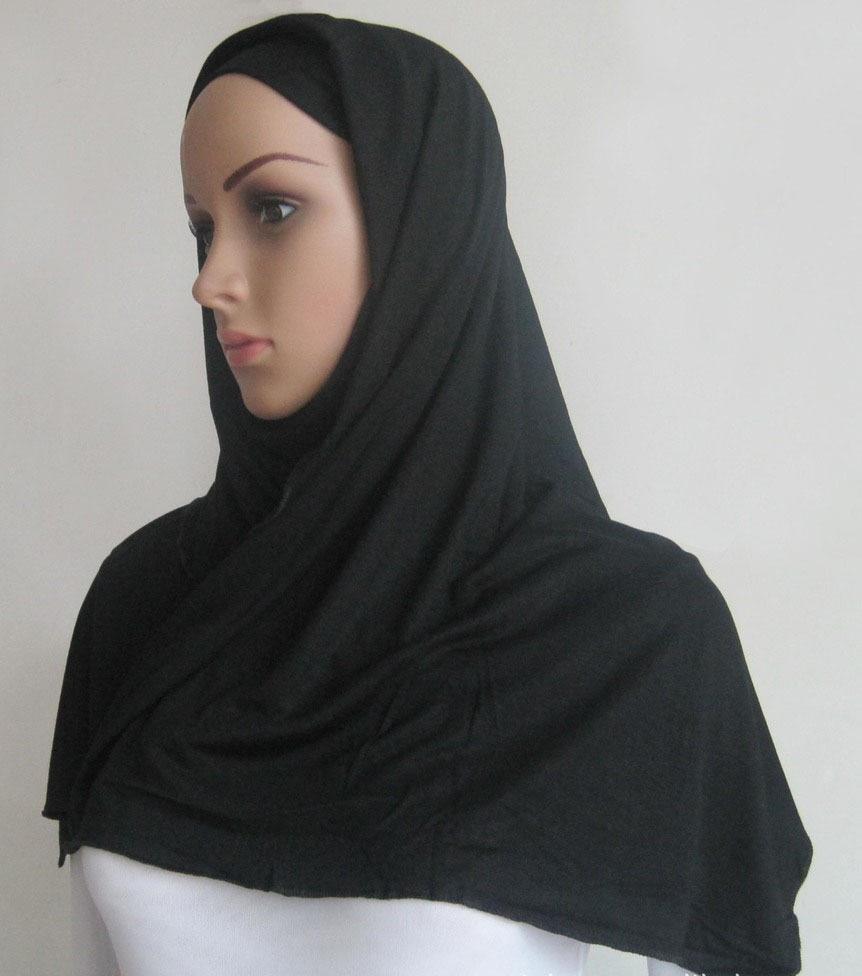 Livraison gratuite mixte solide plaine hijab écharpe de mode wraps 100%  coton maxi châles souple à long islamique musulman foulards hijabs 9ecadd830bf