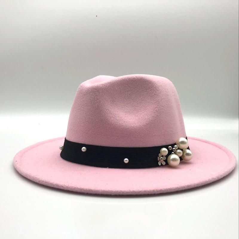 142904ac0 US $6.99 40% OFF Wool Fedora Hat Hawkins Felt Cap Wide Brim Ladies Trilby  Chapeu Feminino Hat Women Pearls Jazz Church Godfather Sombrero Caps-in ...